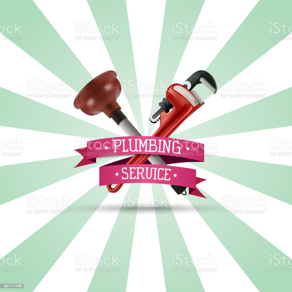 Pipe wrench and plunger on sunburst background vector art illustration