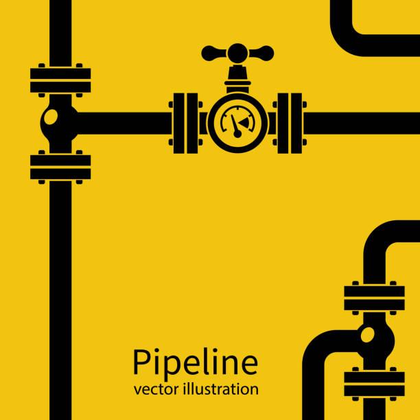 ilustrações, clipart, desenhos animados e ícones de silhueta de fundo preto de gasoduto - encanador