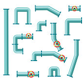 Vector set of details ware pipes system in flat style. Collection of water tube, plastic pipeline, filters, gas valve, fittings, plumbing, faucet, sewage.