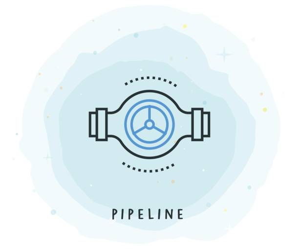 Pipeline Icon with Watercolor Patch Pipeline Icon with Watercolor Patch pipefitter illustrations stock illustrations