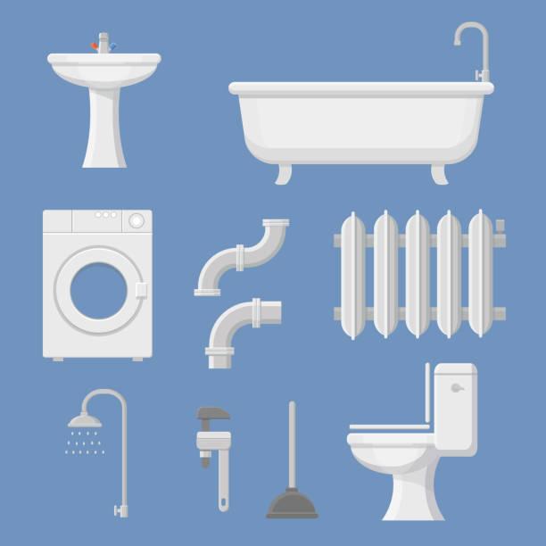 pipeline plumbing, heater system and plumber service tools icons set - duscharmaturen stock-grafiken, -clipart, -cartoons und -symbole