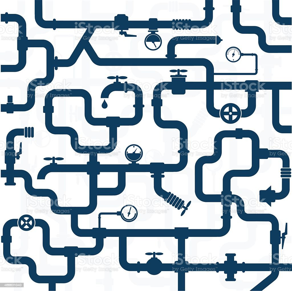 Pipeline plumbing vector art illustration