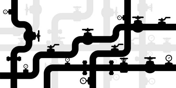 ilustrações, clipart, desenhos animados e ícones de fundo textured encanamentos. bandeira industrial do vetor com tubulações e equipamento. - encanador