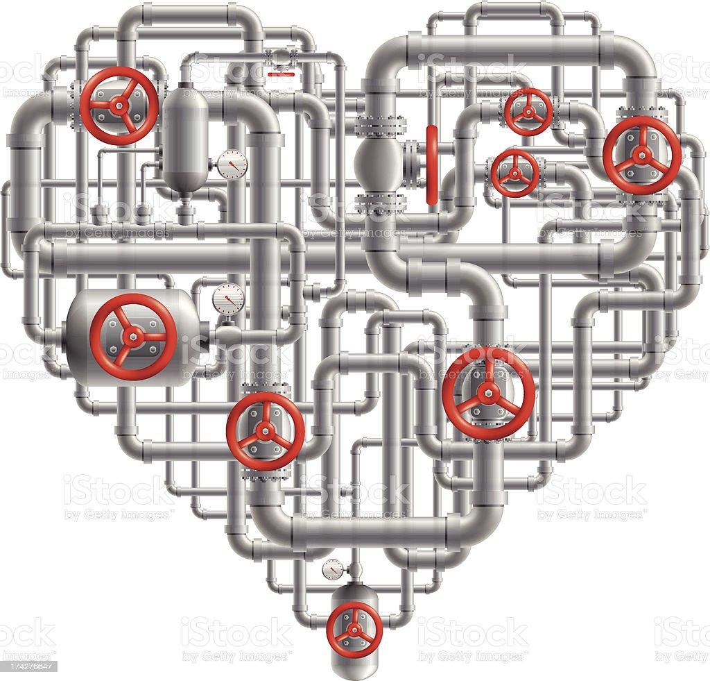 Pipes Heart vector art illustration