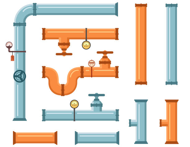 pipes set for plumbing or construction industry - flange stock illustrations, clip art, cartoons, & icons