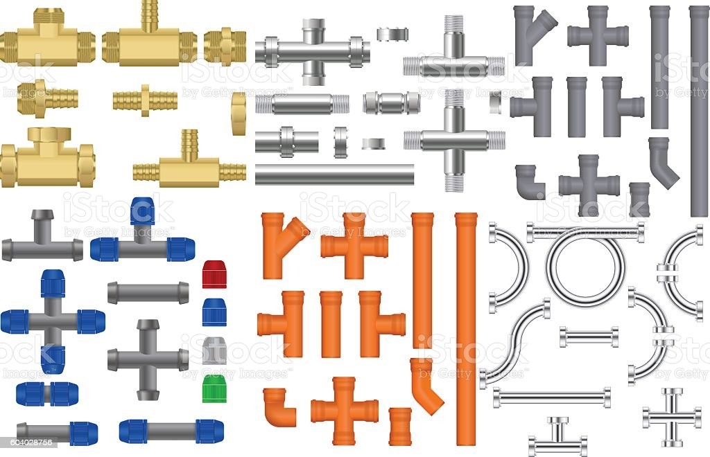Pipes set. Metal, bronze, chrome pipes with fitting vector art illustration