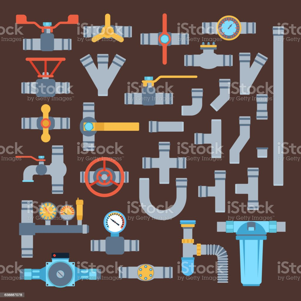 Pipes vector icons isolated. vector art illustration