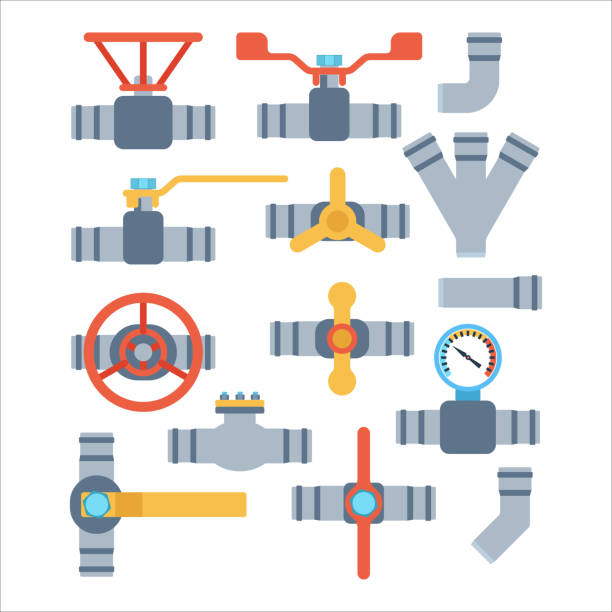 pipes vector icons isolated. - flange stock illustrations, clip art, cartoons, & icons
