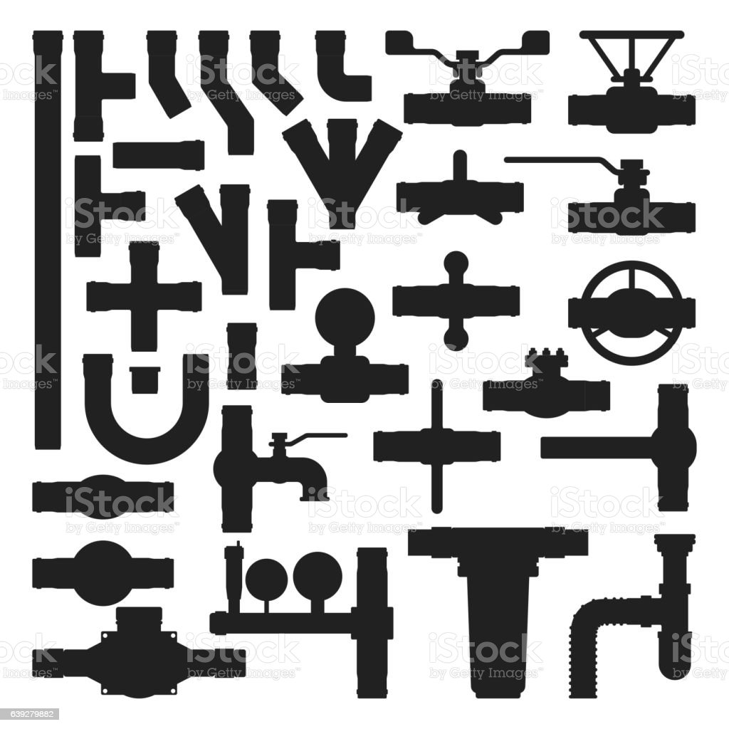 Pipes vector icons silhouette isolated. vector art illustration