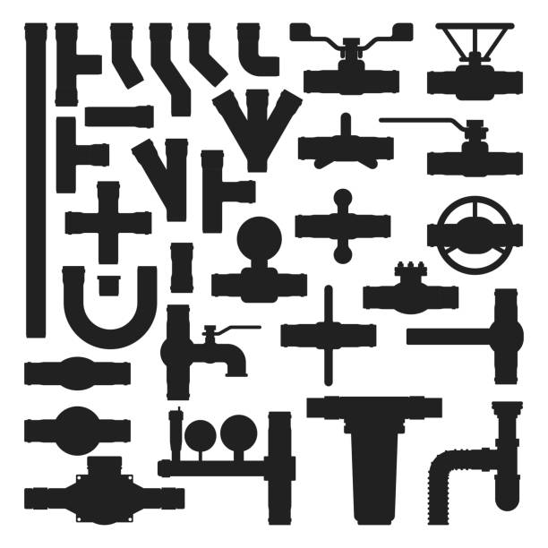 pipes vector icons silhouette isolated. - flange stock illustrations, clip art, cartoons, & icons
