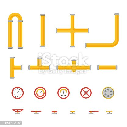 A set of different types of pipes and structural parts for them as well as a pressure valve, meter, pump, tap, pressure gauge and opening and closing valves. Vector illustration.