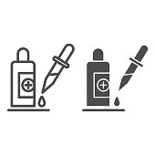 Pipette and medical bottle line and solid icon, Healthcare concept, Medicine vial and dropper sign on white background, Pipette with liquid drop icon in outline style, mobile and web. Vector graphics