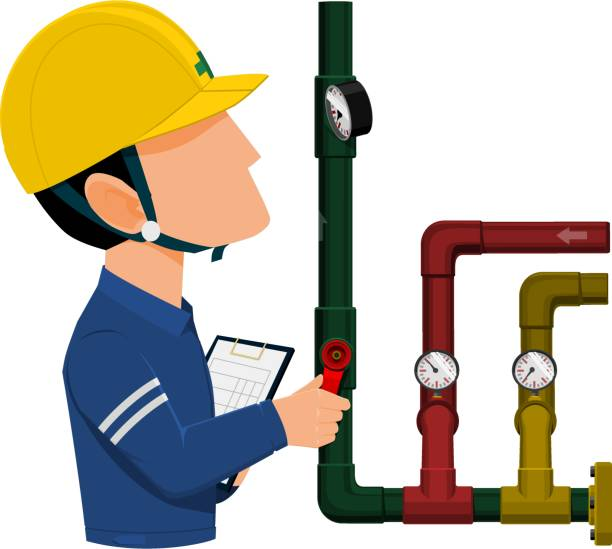 Royalty free pipeline inspection clip art vector images