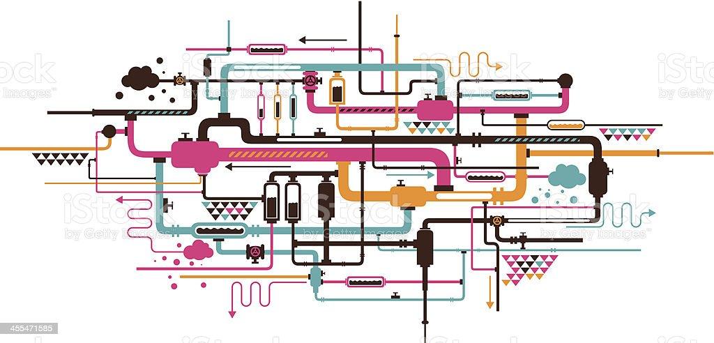piping vector art illustration