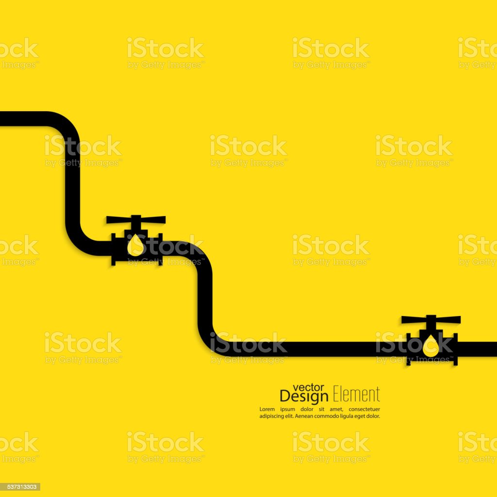 Piping with shutoff valve vector art illustration