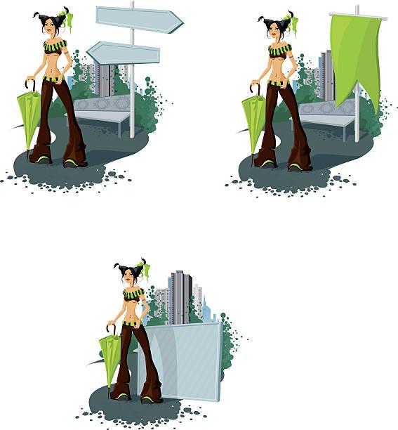 pippi mit banner - straßenschilder stock-grafiken, -clipart, -cartoons und -symbole