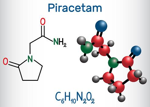 Piracetam Molecule It Is Nootropic Drug Structural Chemical Formula And  Molecule Model Stock Illustration - Download Image Now - iStock