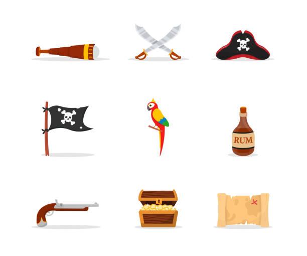 ilustrações, clipart, desenhos animados e ícones de ilustrações lisas do vetor dos acessórios do pirata ajustadas - mapas de tesouro