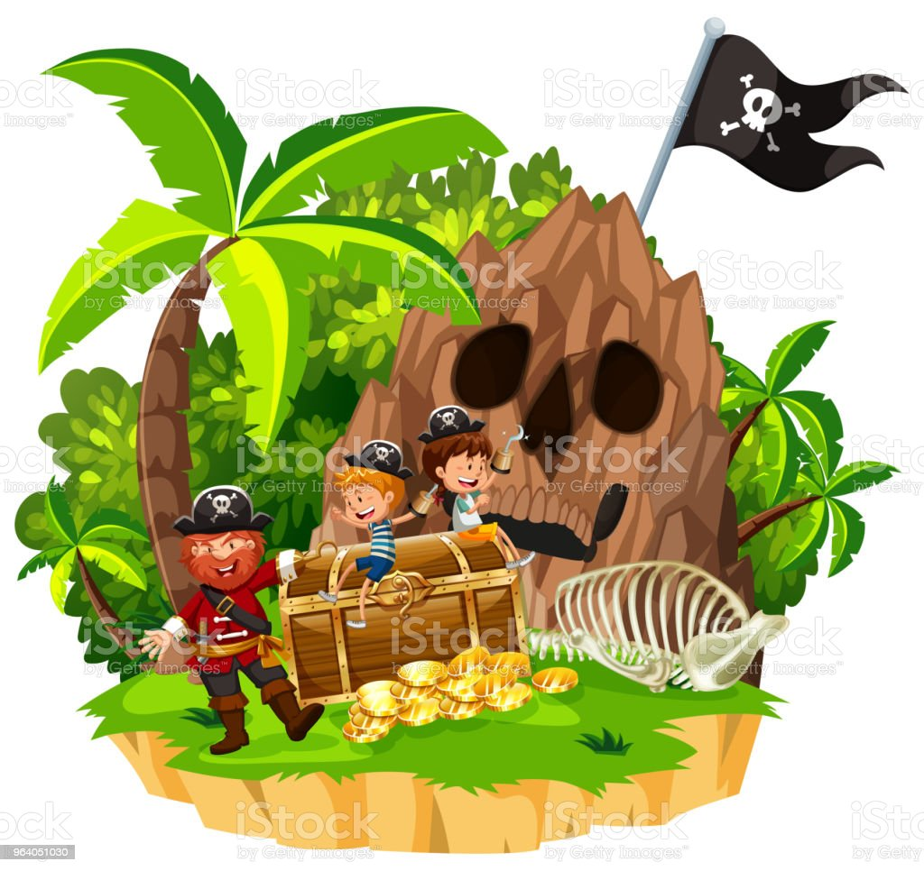 Pirate and Children on Island - Royalty-free Adventure stock vector
