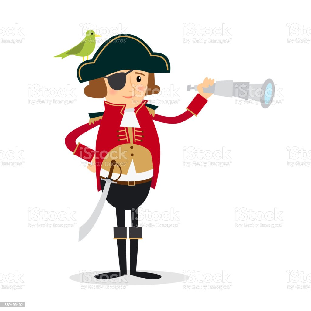 Pirate and Parrot vector art illustration