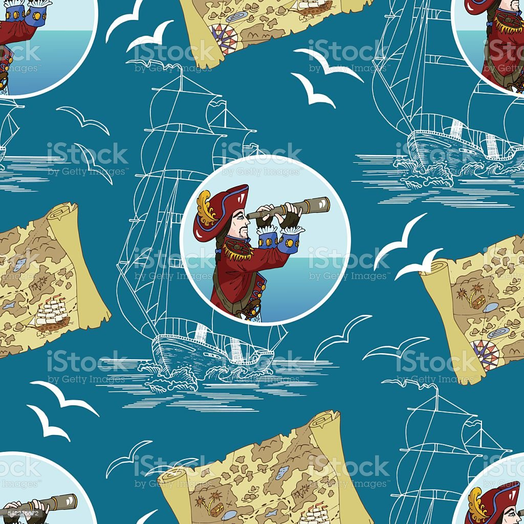 Pirate background with captain, map and ship on blue vector art illustration