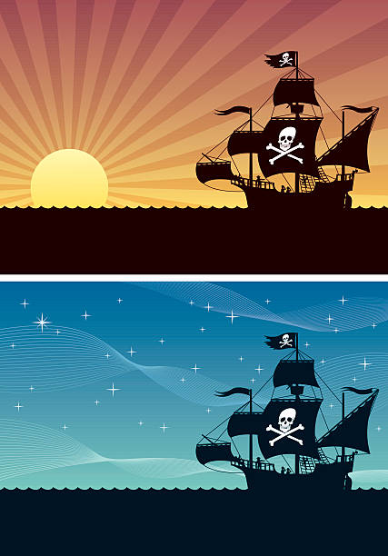 Pirate Backgrounds Two cartoon backgrounds with pirate ships. Each is in A4 proportions but you can extend the black area downwards. pirate ship stock illustrations