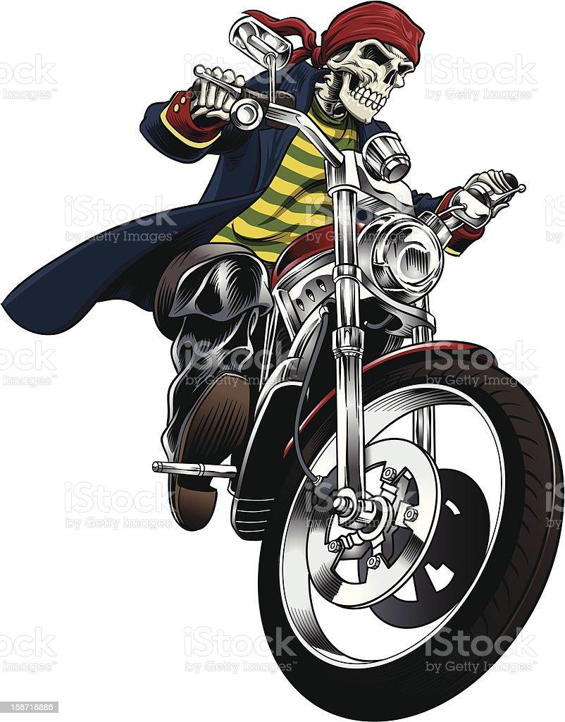 Pirate biker vector art illustration