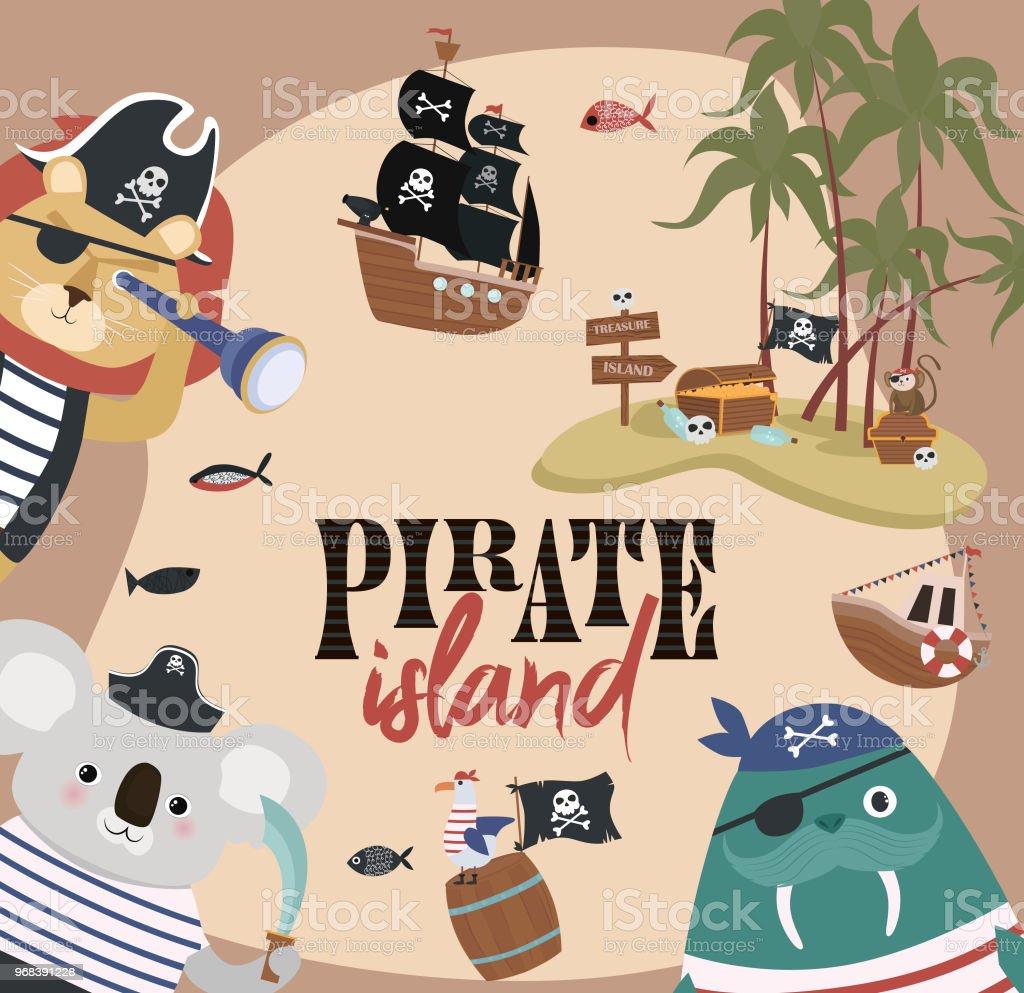 Ilustración De Tarjeta De Invitación De Cumpleaños Pirata En