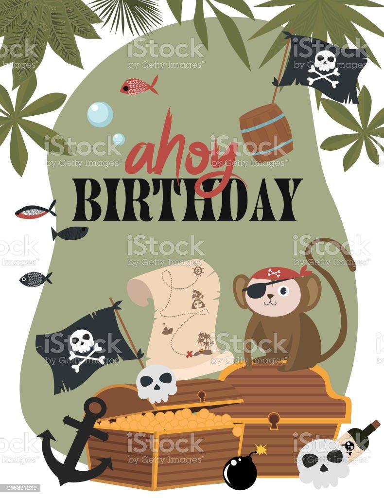 Pirate birthday invitation card in cartoon style stock vector art pirate birthday invitation card in cartoon style royalty free pirate birthday invitation card in stopboris Image collections
