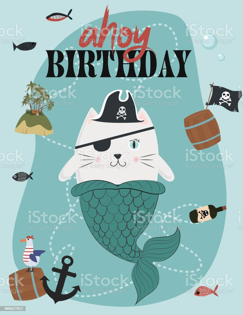 Pirate Birthday Invitation Card In Cartoon Style Stock