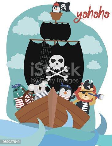Pirate Birthday Invitation card in cartoon style. Editable vector illustration