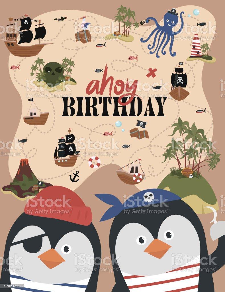 Pirate birthday invitation card in cartoon style stock vector art pirate birthday invitation card in cartoon style royalty free pirate birthday invitation card in cartoon stopboris Image collections