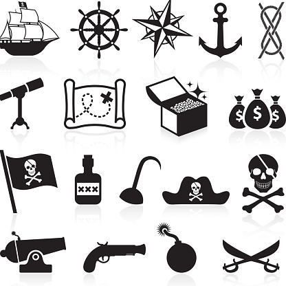 Pirate black and white royalty free vector icon set
