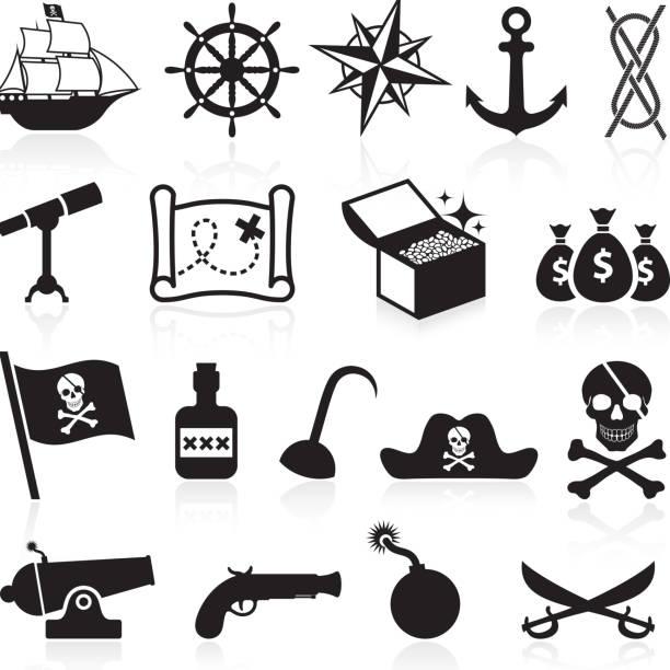 pirate schwarz und weiß lizenzfreie vektor icon-set - matrosenmütze stock-grafiken, -clipart, -cartoons und -symbole