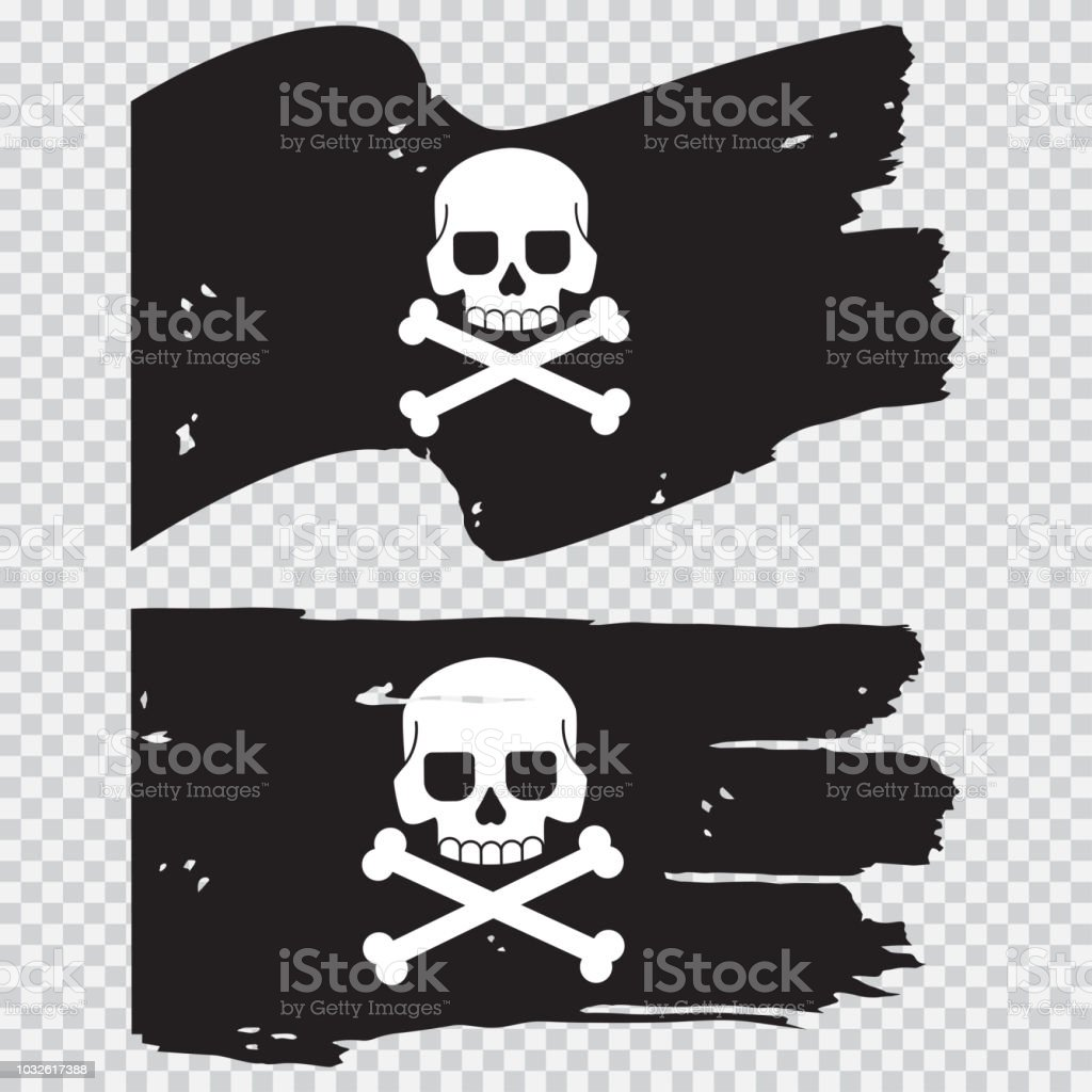 Pirate Black Flag With A Skull And Crossbones Vector Flat