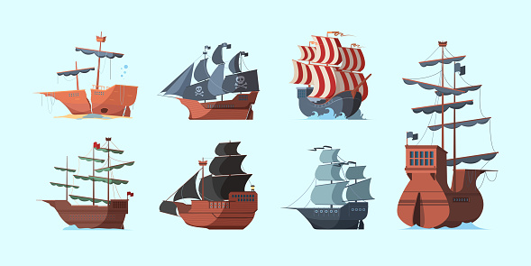 Pirate boat. Old marine vessels pirate damaged ships with black flag vector set