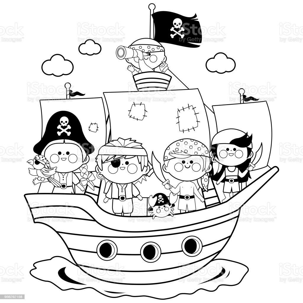 Ilustración De Piratas Niños Y Niñas Navegar En Un Barco En