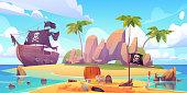 istock Pirate buries treasure chest on island beach 1206057617