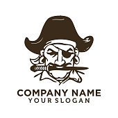 istock Pirate captain and knife vector illustration. Human in pirate hat and eyepatch. Vintage logo, tattoo template design. 1180350532