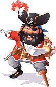 Illustration of a laughing pirate captain with a long black beard, an eye patch, a saber, a hook, a pistol and a peg leg, isolated on white. EPS 8, fully editable, grouped and labeled in layers.