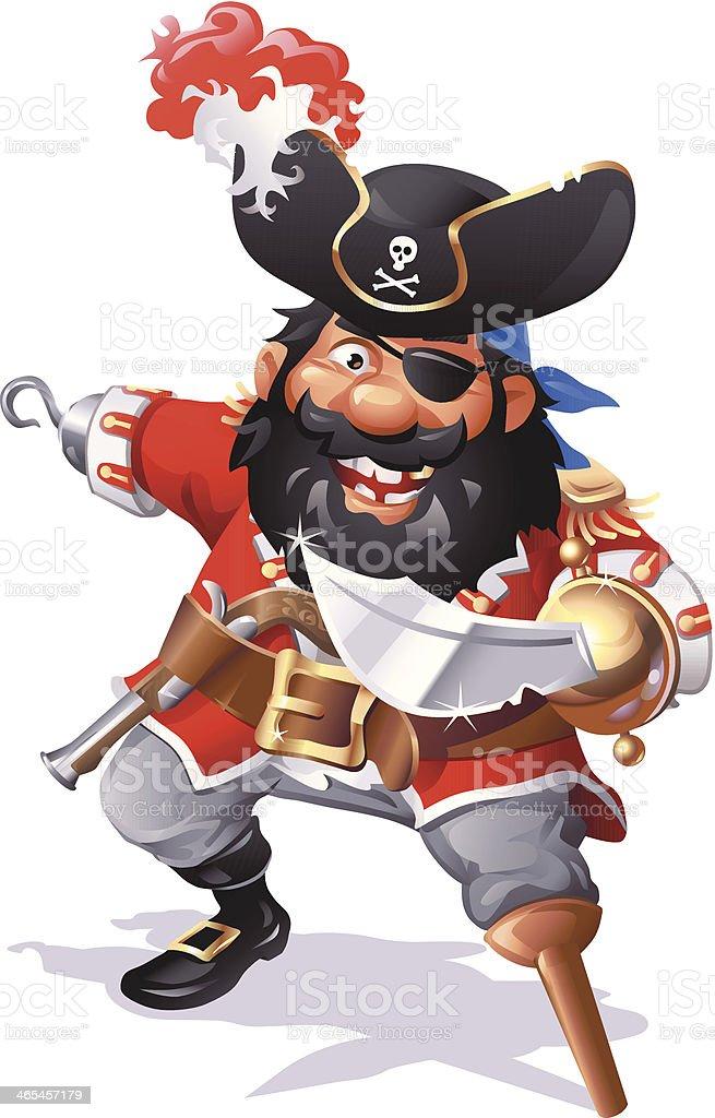 Pirate Captain Blackbeard vector art illustration