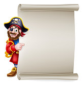 istock Pirate Captain Cartoon Scroll Sign Background 1281457688