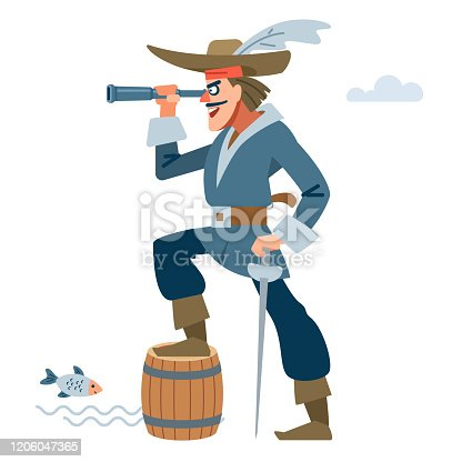 istock Pirate captain character with looking through a telescope and rejoices at the prey. Vector cartoon flat illustration 1206047365