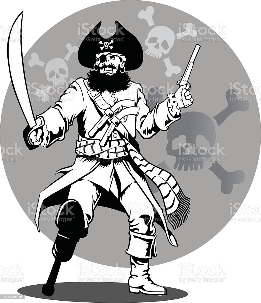Pirate Captain in Black and White vector art illustration