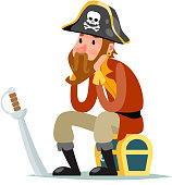 Pirate captain sit on treasure chest cartoon character design vector illustration