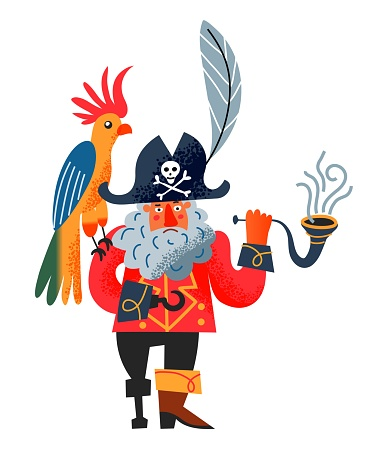 Pirate captain smoking pipe with parrot. Piratic character with beard, hook, hat with emblem, bird sitting on shoulder on white background. Adventure and marine piracy vector illustration