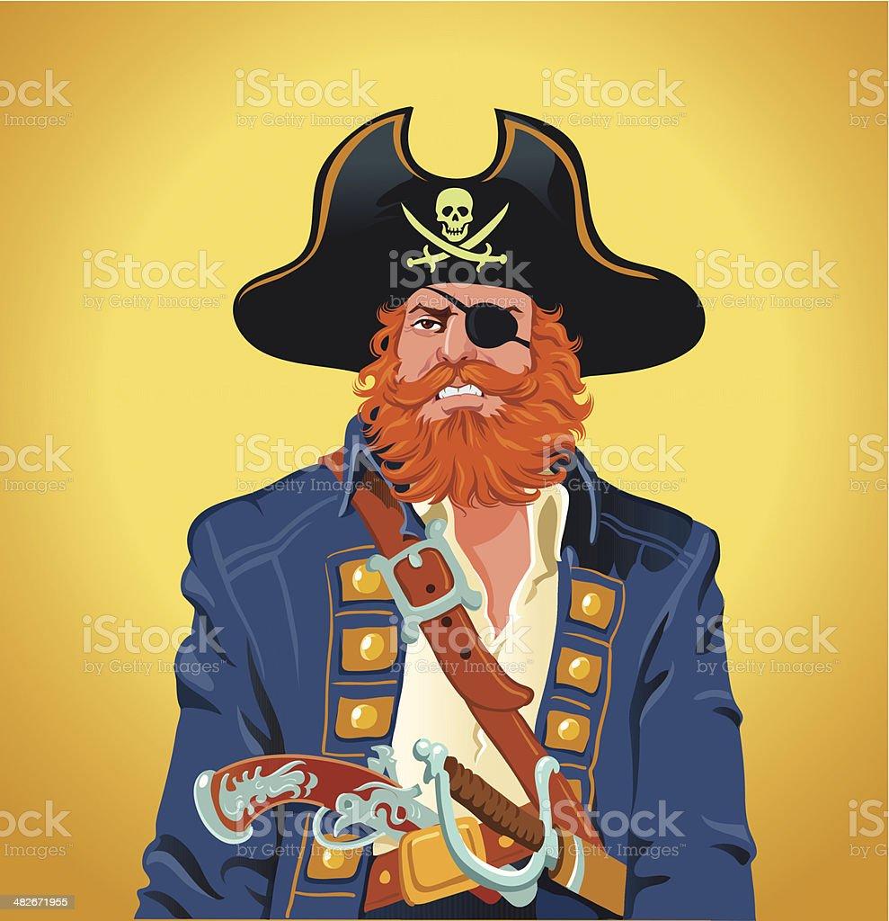 Pirate Captain vector art illustration