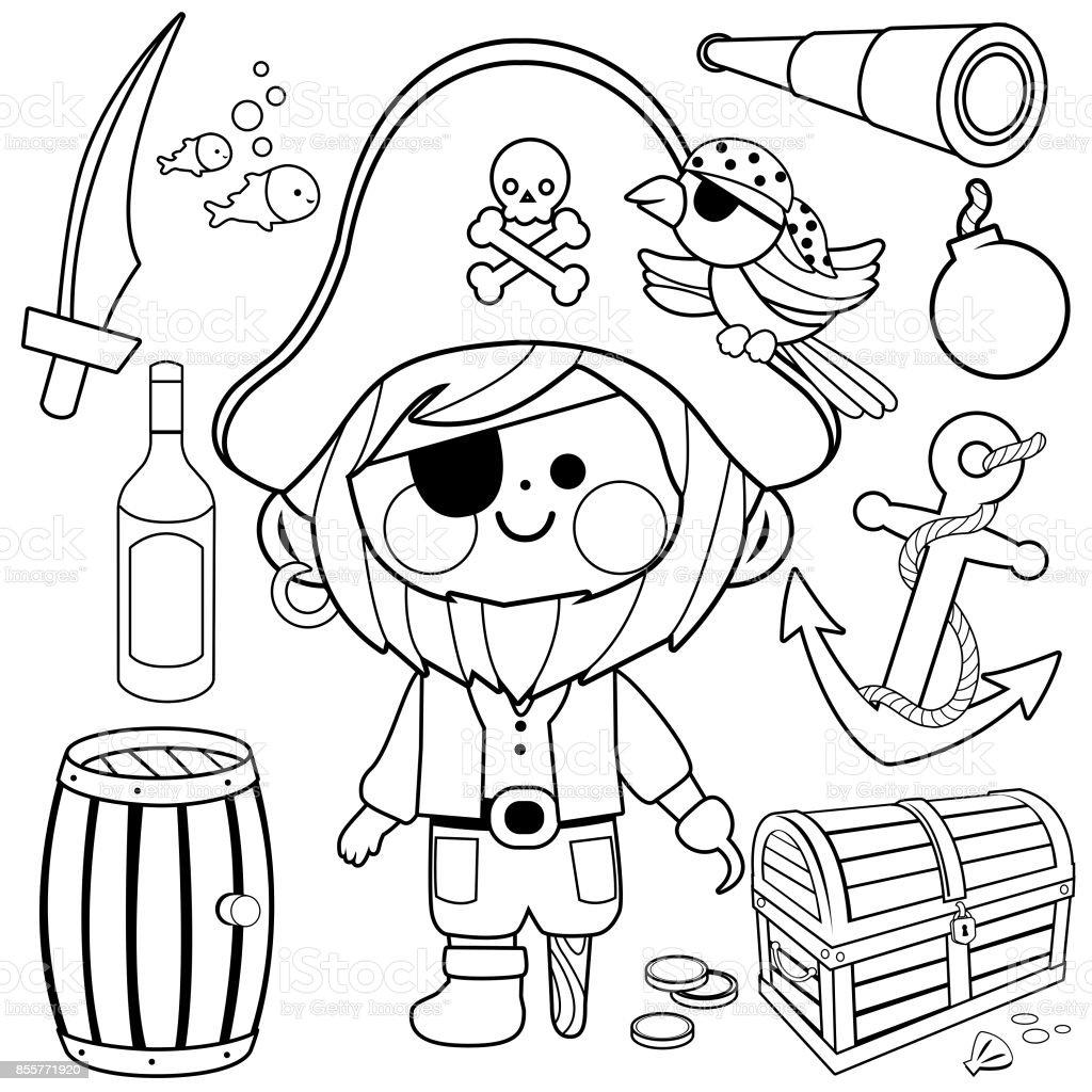 Conjunto De Vector De Capitán Pirata Blanco Y Negro Para Colorear ...