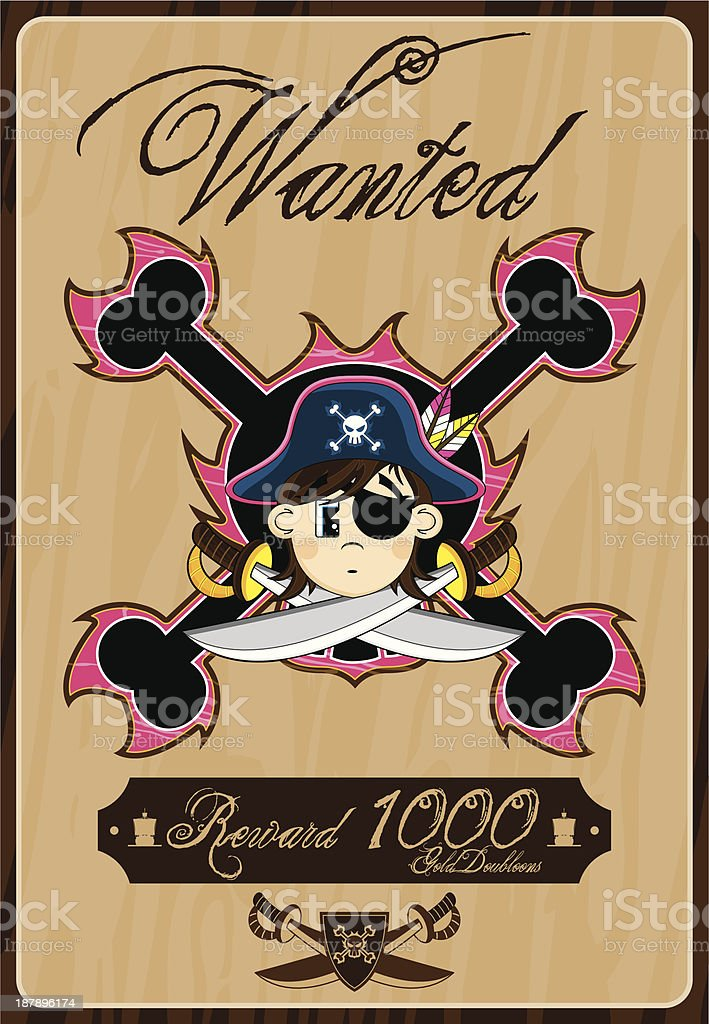 Pirate Captain Wanted Poster royalty-free stock vector art