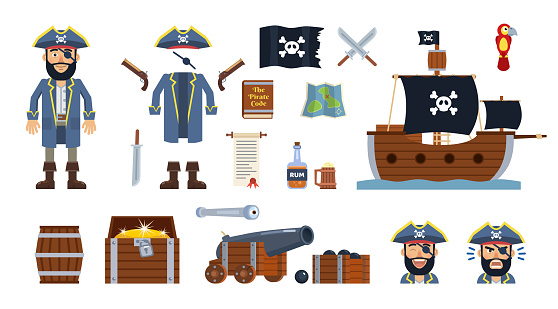 Pirate captain with diverse pirate icons, elements. Hat, clothes, flag, ship, sword, pistol, cannon, treasure map, chest, barrel, scroll and other icons